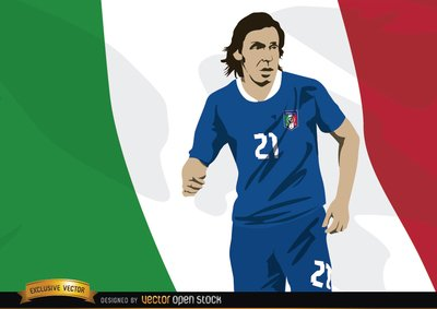 Italy footballer Andrea Pirlo with flag