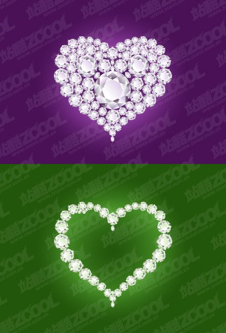 2 diamond heart-shaped