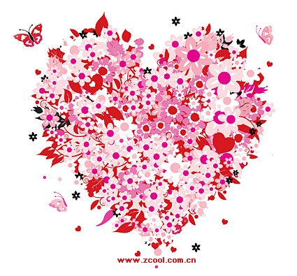 Colorful flowers on Valentine's Day heart-shaped vector mate
