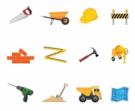 Building and Construction Tools Vektor Icon Set