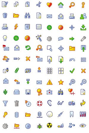 Cartoon-style icons web design commonly used material