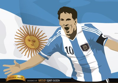 Messi mit Argentinien-Flag-Football-Spieler
