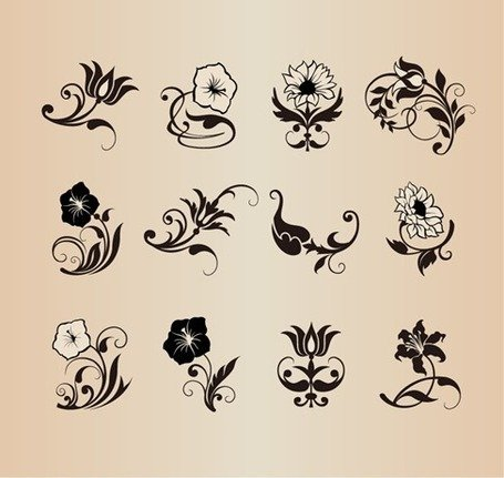 Fleur floral Vector Design Elements