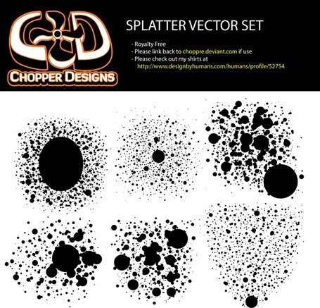 Chopperdesigns Splatter vektör Set
