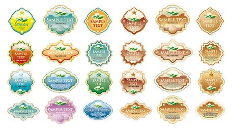 A variety of crystal-style label
