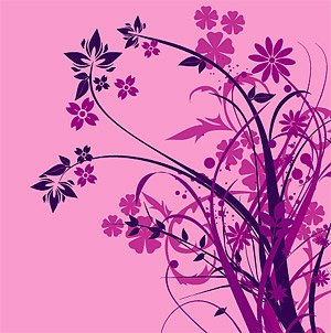 Purple Fashion Flower silhouette