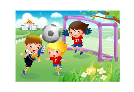 Enfants jouant motion football