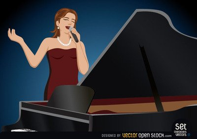 Girl Singer Performing Behind a Piano