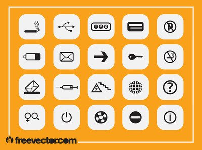 Black & White Flat Icon Pack