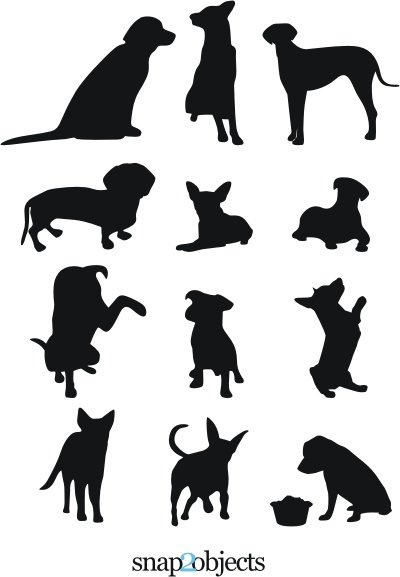 13 Hund Vector Silhouettes