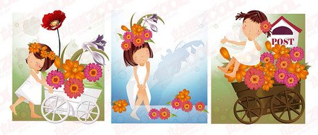 Daisy Theme (South Korea iClickart Four Seasons cute girl al