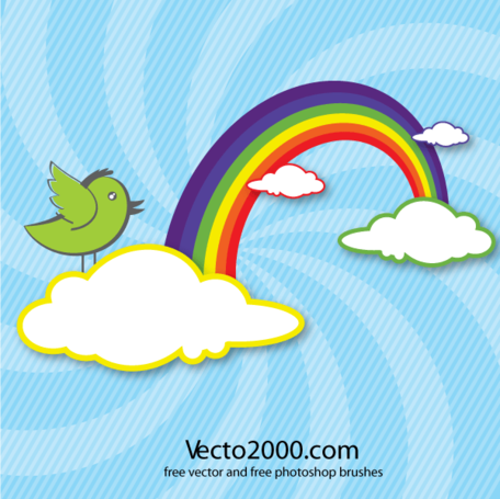 Rainbow with Clouds and Bird Vector Card Design