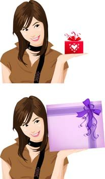 Beautiful Girl with Gift