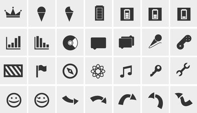 Simples preto & White Web Icon Pack