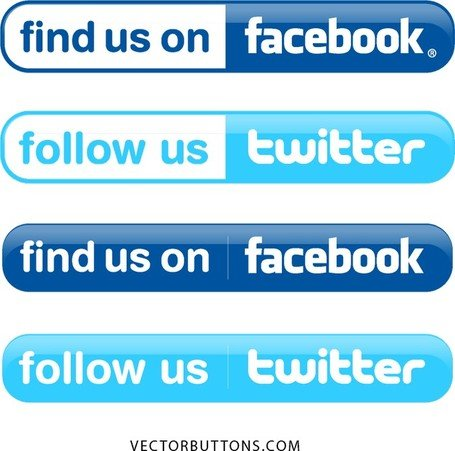Boutons de Twitter et de Facebook simple