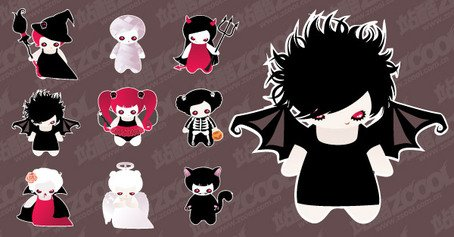 Cute Halloween characters set the