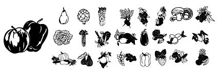 Black and white line drawing of fruits and vegetables