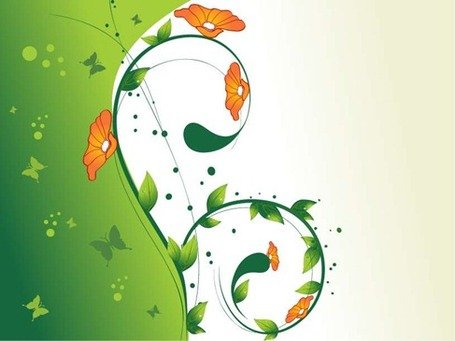 Green Swirl Floral Vector Illustratie 2