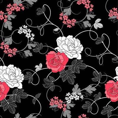 Seamless Retro Rose Pattern Black Background