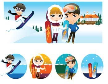 Snow boarding vector 9