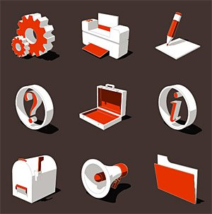 3D three-dimensional style icon