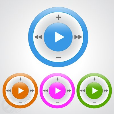 Free Music Play button. Vector Icon