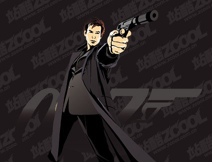 Vector material 007 movie characters