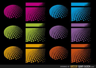 Halftone designs in several colours