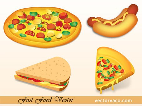 Free Fast Food Vector: Sandwich and Pizza