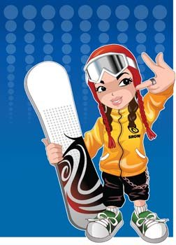 Snow boarding vector 11