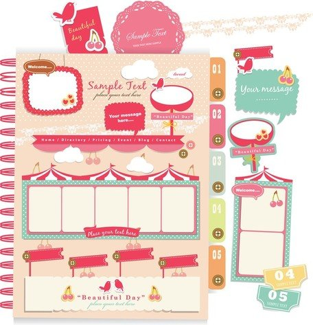 Beautiful Pink Stickers Elements 04