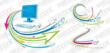 Vector Illustration of computer technology subject material