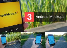 3 realistische Androïde Mockup PSDs