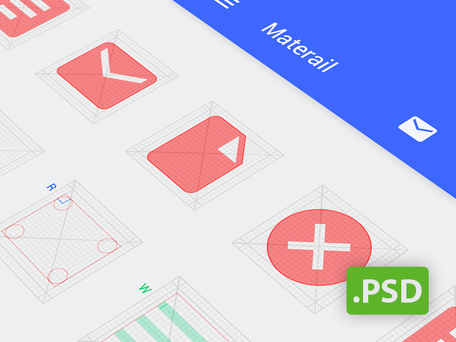 Android 網格 Psd (Android L 圖示範本)