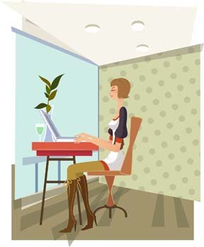 Girls and computer vector 38