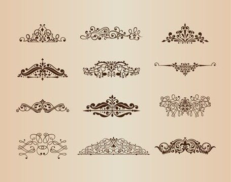 Set Vector d'ornements Vintage avec des éléments de Design Floral