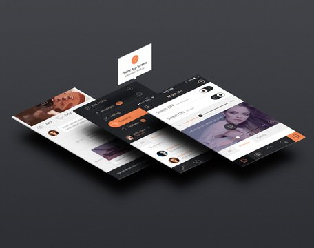 Perspektive App Bildschirme Mock-up 3