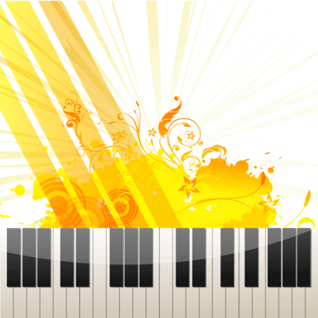 Abstract Floral Grungy Background with Piano Keys