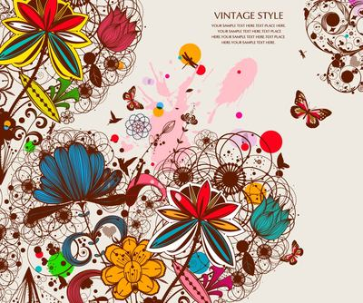 Grunge Retro Floral Background mit Schmetterling