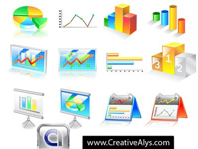 3D Business Chart Icon Pack