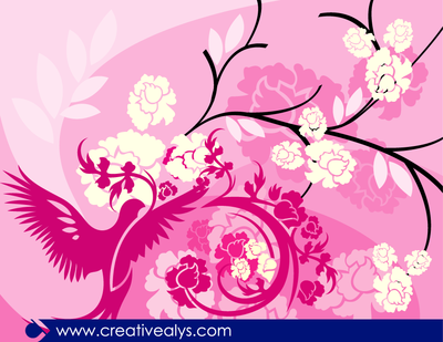Floral Pinkish Background with Bird