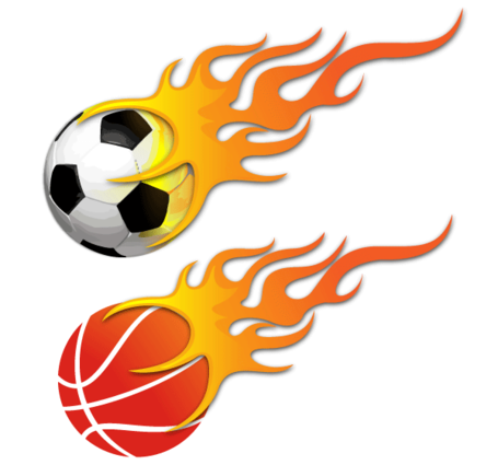 vector bola pegando fogo bola de futebol e basquete flaming basketball through hoop logo Basketball Clip Art