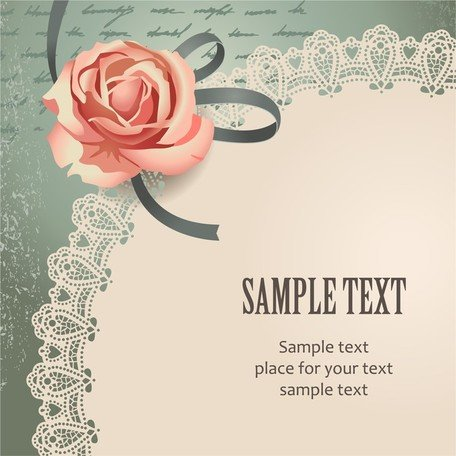 Vintage Rose carte texte Template vecteur 1
