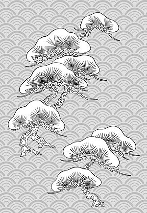 Japanese line drawing of plant flowers vector material -32 (
