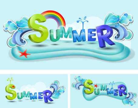 Zomer thema Vector lettertype ontwerp-materiaal