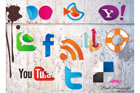 Set di Sticker icone Social Media vettoriali gratis