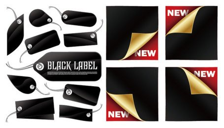 Vector tag and sticker black material