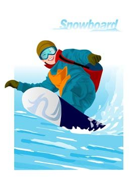 Snow boarding vector 8