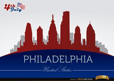 Philadelphia skyline on July 4th commemoration