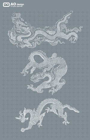 Classical Chinese line drawing dragon pattern vector materia